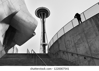 Seattle Washington USA - November 2, 2018: Seattle Space needle in Back and White in a cloudy day. The Space Needle is an observation tower in Seattle, Washington, a landmark of the Pacific Northwest.