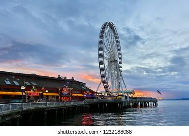 Seattle Washington USA - November 2, 2018: Seattle Great Wheel at Sunset. The Seattle Great Wheel is a giant Ferris wheel at Pier 57 on Elliott Bay in Seattle, Washington.