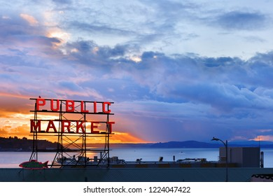 Seattle Washington USA - November 2, 2018: The Pike Place Market  in central Seattle waterfront after sunset. The market is one of most popular tourist place.