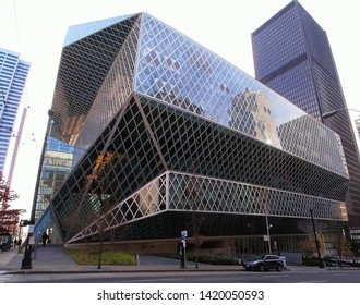 Seattle, Washington / USA - November 23, 2013: The ultra-modern steel-and-glass, 11-story Seattle Public Library completed in 2004.