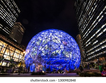 Seattle, Washington, USA – November 4, 2018  One of the Seattle Spheres is lit blue to honor Paul Allen who died in October.