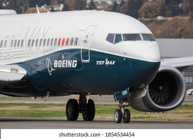 SEATTLE, WASHINGTON / USA - November 6, 2020: A Boeing 737 Max 7 departs from King County International Airport, also known as Boeing Field.