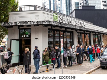 Seattle, Washington, USA – October 18, 2018  Shake Shack has its grand opening today in Seattle at 11am.