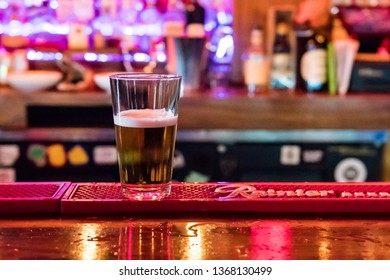 Seattle, Washington, USA - October 18, 2019: Beer at the bar of the Black Cat pub in Seattle