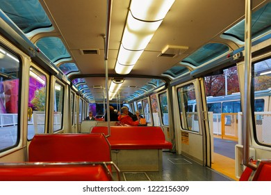 Seattle Washington USA - October 30, 2018: Inside of Monorail Train of Seattle.  The Seattle Center Monorail is an elevated monorail line running between Westlake Center in Downtown and Space Needle.
