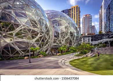 Seattle, Washington, USA - Sep 2, 2019: Amazon Spheres building
