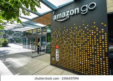 Seattle, Washington, USA - Sep 2, 2019: Amazon Go grocery store