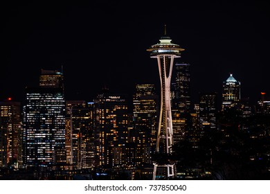 Seattle, Washington, USA - September 1,2017 : view of Seattle and Space Needle at night