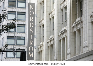 Seattle, Washington / USA - September 15 2018: Nordstrom sign on the exterior of the Seattle Flagship department store, with space for text on the right