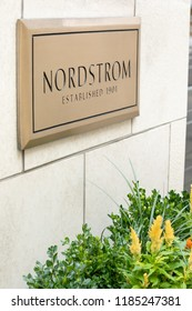 Seattle, Washington /USA - September 15 2018: Side close up on a bronze name plate for Nordstroms Established 1901, outside of the flagship department store and corporate headquarters