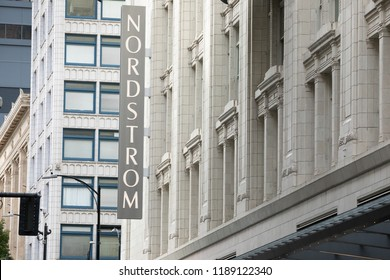 Seattle, Washington / USA - September 15 2018: Nordstrom sign on the marble exterior of the Seattle Flagship store, with space for text on the right
