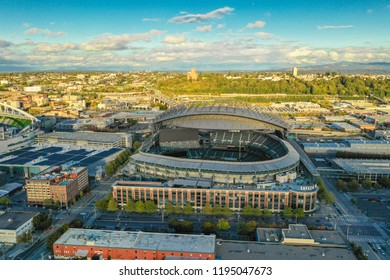 SEATTLE, WASHINGTON, USA - SEPTEMBER 15, 2018: Aerial drone image of Safeco Field Seattle WA USA