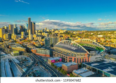 SEATTLE, WASHINGTON, USA - SEPTEMBER 15, 2018: Aerial drone footage of Seattle Centurylink Field