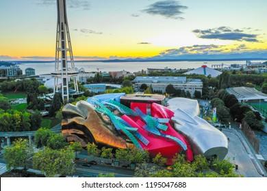 SEATTLE, WASHINGTON, USA - SEPTEMBER 15, 2018: Aerial drone image of the Museum of Pop Culture Seattle Washington USA