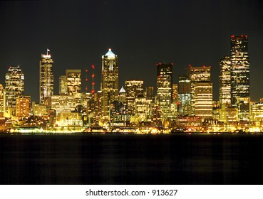 Seattle, Washington's skyscrapers as viewed from Alki Beach in West Seattle.  Space at bottom and top for text.