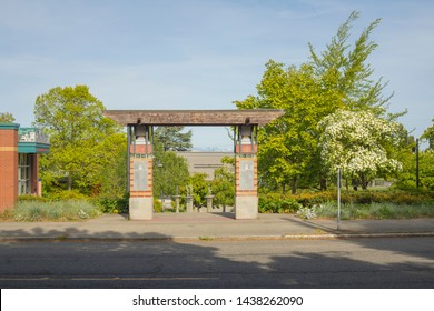 Seattle, Washington/United States – 05/04/2019: This is a view of the entrance to Miller Park near the Miller Community Center in Seattle, Washington in the summer of 2019.