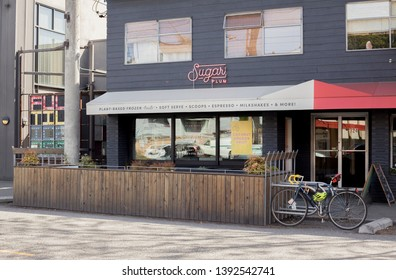 Seattle, Washington/United States – 05/07/2019: This is a view of the storefront of Sugar Plum, a ice cream eatery located in Seattle.