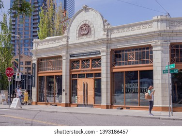 Seattle, Washington/United States – 05/07/2019: This is a view of the Starbucks Roastery in downtown Seattle on a summer day.