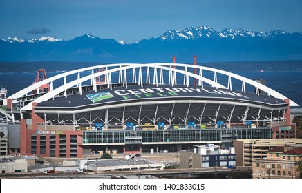 Seattle, Washington/U.S.A. 05/14/2019 A View of the Seattle Seahawks Stadium in the SoDo district with the new Century Link Logo displayed.