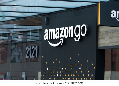 SEATTLE, WASHINGTON/USA - January 22, 2018: Close up on the Amazon Go store sign by the entrance to the downtown Seattle Amazon headquarters