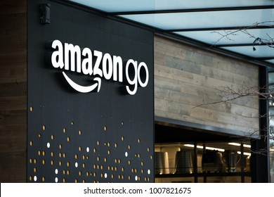 SEATTLE, WASHINGTON/USA - January 22, 2018: Amazon Go store sign and logo, at the downtown Seattle Amazon headquarters