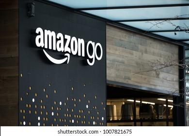 SEATTLE, WASHINGTON/USA - January 22, 2018: Amazon Go store sign and logo, at the downtown Seattle Amazon headquarters