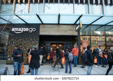 SEATTLE, WASHINGTON/USA - January 22, 2018:  Wide angle view of customers waiting to enter the Amazon Go store, during the opening day at the Seattle Amazon headquarters