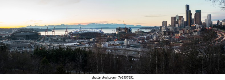 SEATTLE, WASHINGTON/USA - JANUARY 6, 2017: SODO Cityscape South Downtown Stadiums and Skyscrapers