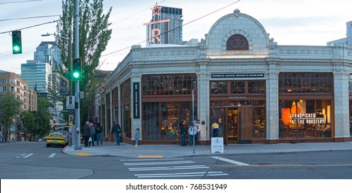 SEATTLE, WASHINGTON/USA - JUNE, 2017: Starbucks Coffee Reserve Roastery and Tasting Room on Capitol Hill Panoramic