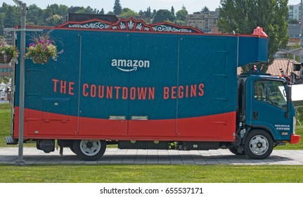 """SEATTLE, WASHINGTON/USA - JUNE 7, 2017: Amazon Treasure Truck With the Slogan, """"The Countdown Begins."""" The Treasure Truck is an Amazon.com special deals pop-up sales location."""
