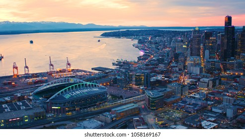 Seattle, Washington/USA - March 12, 2018: Aerial View Century Link Field and Downtown Seattle Sunset Lighting