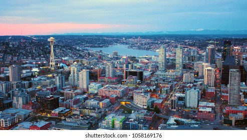 Seattle, Washington/USA - March 12, 2018: Aerial View From Helicopter Looking North From City Downtown Towards Lake Union
