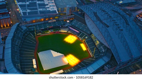 Seattle, Washington/USA - March 12, 2018: Safeco Field Retractable Roof Open Air Baseball Stadium Where Seattle Mariners Play Aerial Top Down View Empty at Night