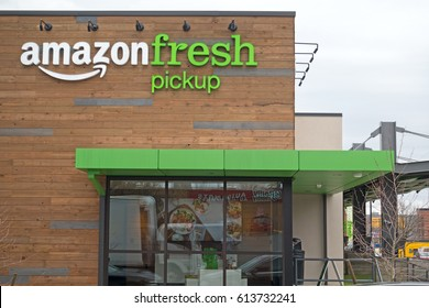 SEATTLE, WASHINGTON/USA - March 31, 2017: Amazon Fresh Grocery Pickup Just Opened For Beta Participant Testing in the Ballard Neighborhood of Seattle