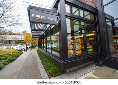 SEATTLE, WASHINGTON/USA - NOVEMBER 26, 2016: Exterior Building of First Amazon Books Physical Bookstore Location by Amazon.com