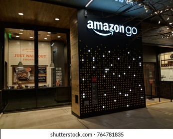 SEATTLE, WASHINGTON/USA - NOVEMBER 27, 2017: Amazon Go is a new kind of store with no checkout required. Customers can just walk out with no checkout or line. Sensors automatically detect purchases