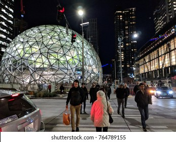 SEATTLE, WASHINGTON/USA - NOVEMBER 27, 2017: People Leaving Amazon Headquarters at the End of a Work Day