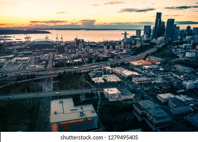 Seattle Waterfront Skyline Aerial with Colorful Sunset Afterglow