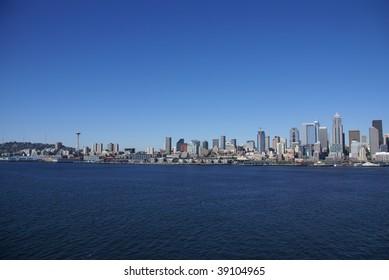 Seattle waterfront skyline,  Puget Sound,  Pacific Northwest