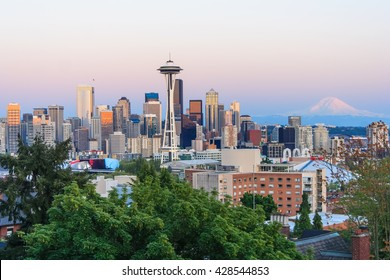 Seattle, WA/USA - circa May 2016: Panoramic view of Seattle Downtown, Space Needle, and Mount Rainier from Kerry Park
