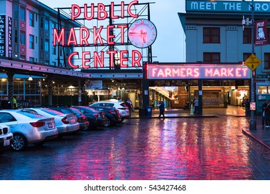 Seattle, WA/USA October 30, 2016: Pike Maret in the evening after rainy day