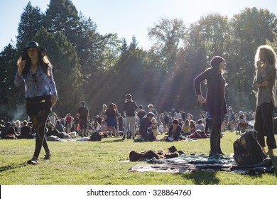 SEATTLE, WA/USA - SEPT 27, 2015: A large crowd gathers at Volunteer Park on a sunny fall day