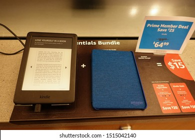 Seattle, WA/USA-6/15/19: An Amazon Kindle  device on sale at an Amazon Book Store.