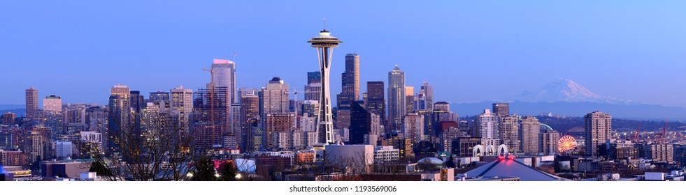 Seattle, WA,USA-February 15th, 2015 : View of Space Needle and Seattle skyline at dusk from Kerry Park.