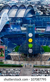 SEATTLE-APRIL 5: CenturyLink Field professional football and soccer stadium in Seattle, WA on April 5, 2012. The mayor supports a controversial plan to build a new basketball and hockey arena nearby.