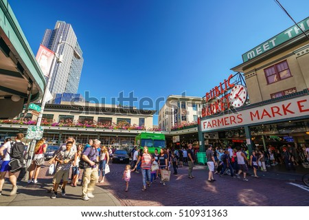 SEATTLE-JULY 29: Pike Place Public Market in Seattle on July 29, 2016. The city has proposed building a new walkway from the historic market to the revitalized waterfront.