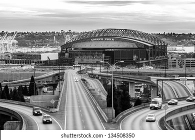 SEATTLE-MAR 26: Safeco Field, home of the Mariners baseball team on March 26 2013 in Seattle, WA. The stadium, seating 54K, will host its first ever public concert on July 19th with Paul McCartney.