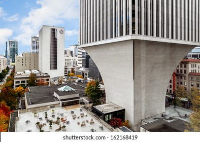 SEATTLE-OCT 27: The distinctive tapered pedestal of the Rainier Tower in downtown Seattle on Oct. 27, 2013. The iconic 31-story skyscraper built in 1977, is considered a landmark of the city.