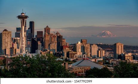 Seattle's cityscape from Kerry Park during Golden hour.