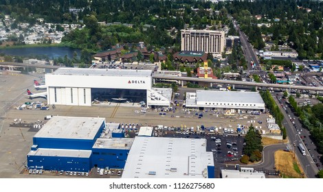SEATTLE-TACOMA, WASHINGTON STATE - JUNE 14, 2018: Aerial view of the Delta Airlines Hangar located at the SeaTac Airport.